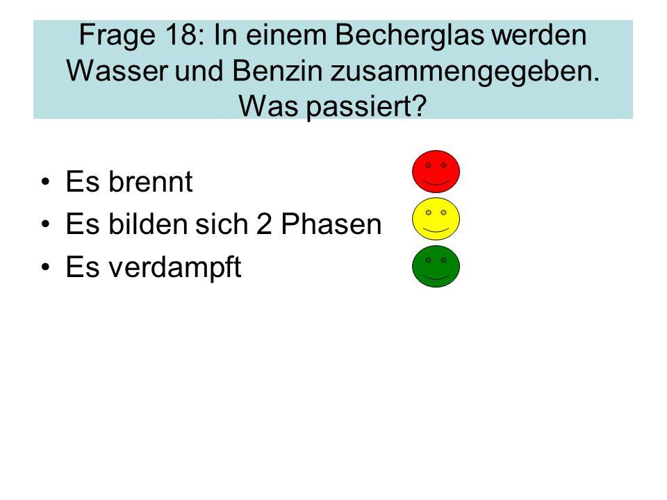 Frage 18: In einem Becherglas werden Wasser und Benzin zusammengegeben.