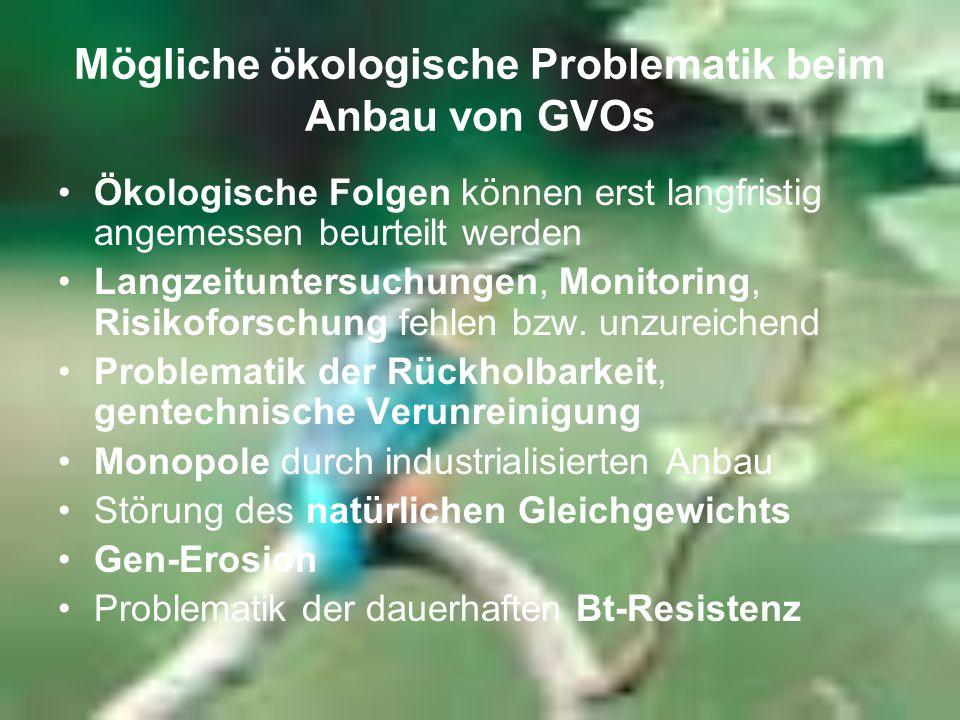 Mögliche ökologische Problematik beim Anbau von GVOs Ökologische Folgen können erst langfristig angemessen beurteilt werden Langzeituntersuchungen, Mo