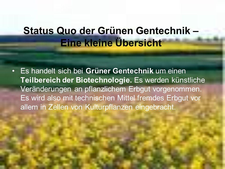 Status Quo der Grünen Gentechnik – Eine kleine Übersicht Es handelt sich bei Grüner Gentechnik um einen Teilbereich der Biotechnologie. Es werden küns