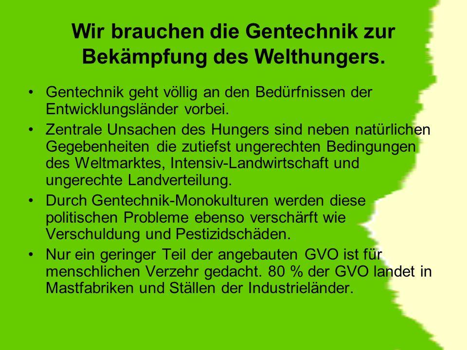 Die einzige Form von Hunger, den die Konzerne, die zu fast 100% den Markt für genmanipulierte Pflanzen beherrschen, damit stillen, ist nicht der Hunger in der Dritten Welt, sondern der Hunger der Aktionäre (EU-Kommissarin Margot Walström).