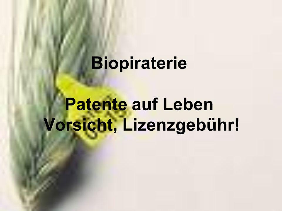 Biopiraterie Patente auf Leben Vorsicht, Lizenzgebühr!