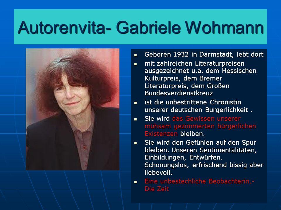 Autorenvita- Gabriele Wohmann Geboren 1932 in Darmstadt, lebt dort Geboren 1932 in Darmstadt, lebt dort mit zahlreichen Literaturpreisen ausgezeichnet u.a.