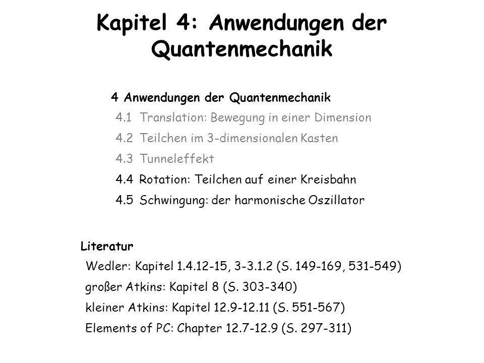Kapitel 4: Anwendungen der Quantenmechanik 4 Anwendungen der Quantenmechanik 4.1 Translation: Bewegung in einer Dimension 4.2 Teilchen im 3-dimensiona