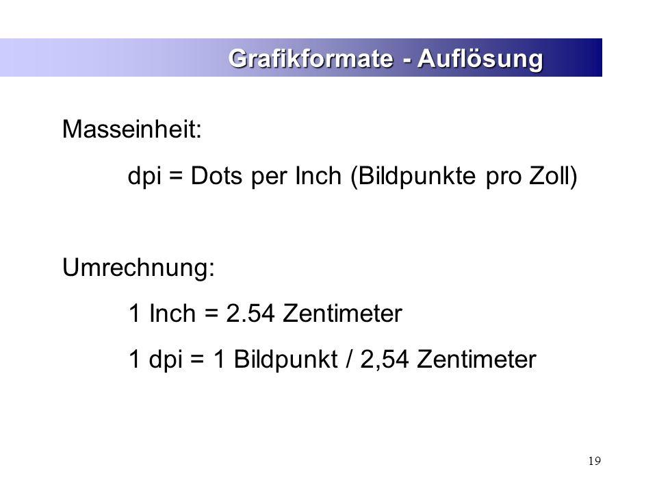 19 Grafikformate - Auflösung Masseinheit: dpi = Dots per Inch (Bildpunkte pro Zoll) Umrechnung: 1 Inch = 2.54 Zentimeter 1 dpi = 1 Bildpunkt / 2,54 Ze