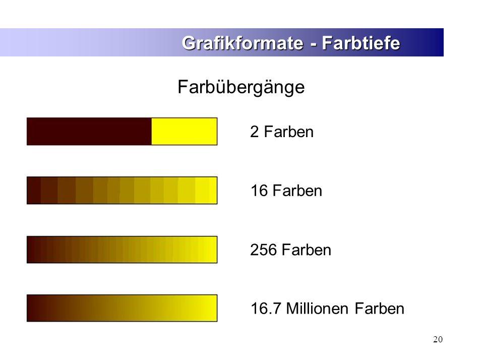 20 Grafikformate - Farbtiefe Farbübergänge 2 Farben16 Farben 256 Farben 16.7 Millionen Farben