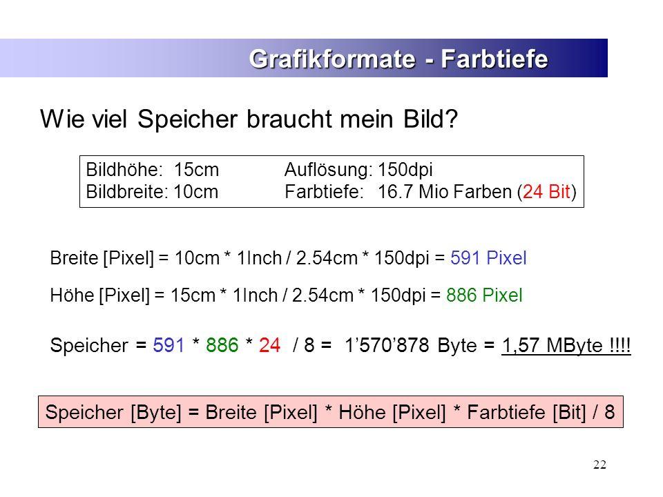 22 Grafikformate - Farbtiefe Wie viel Speicher braucht mein Bild? Speicher [Byte] = Breite [Pixel] * Höhe [Pixel] * Farbtiefe [Bit] / 8 Speicher = 591