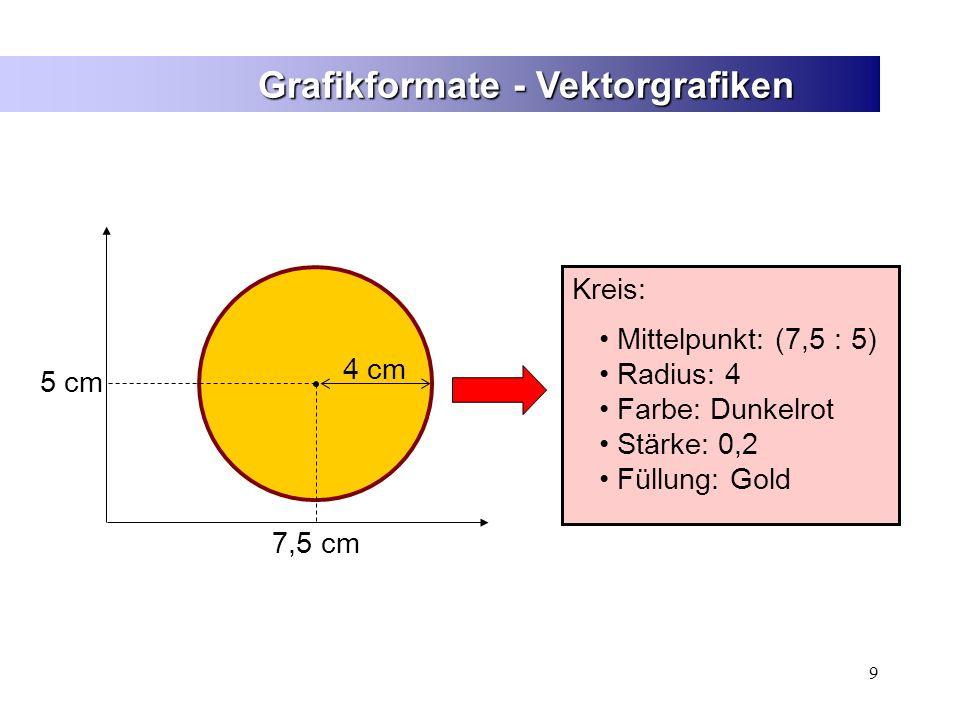 9 Grafikformate - Vektorgrafiken 7,5 cm 5 cm 4 cm Kreis: Mittelpunkt: (7,5 : 5) Radius: 4 Farbe: Dunkelrot Stärke: 0,2 Füllung: Gold