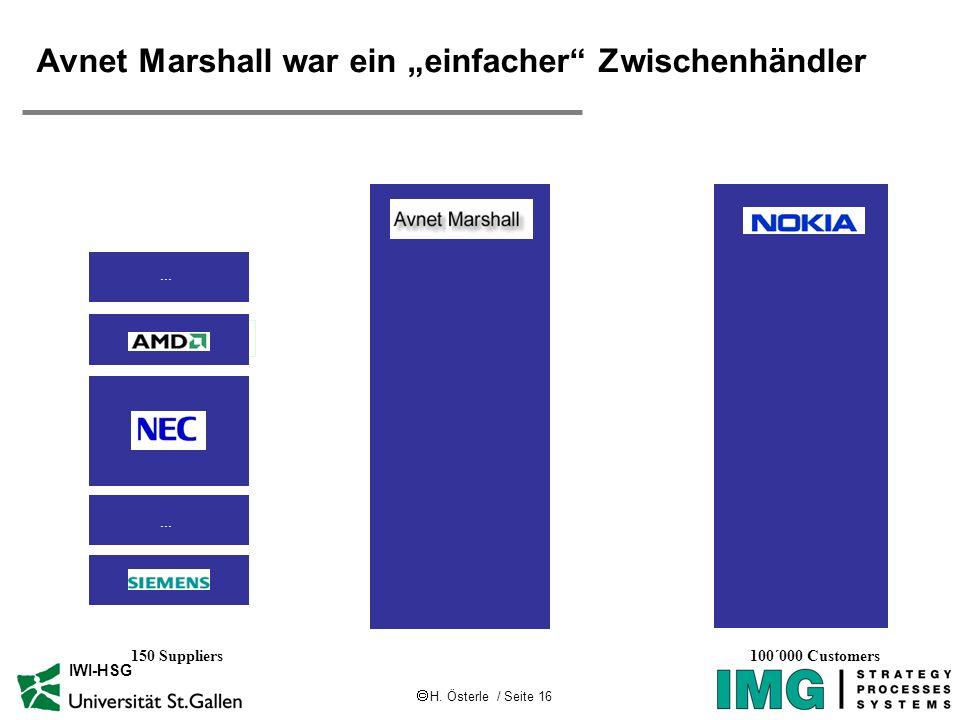 H. Österle / Seite 16 IWI-HSG Avnet Marshall war ein einfacher Zwischenhändler 150 Suppliers100´000 Customers...