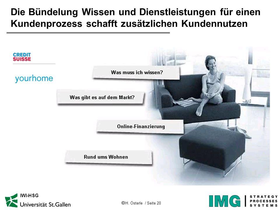 H. Österle / Seite 20 IWI-HSG Die Bündelung Wissen und Dienstleistungen für einen Kundenprozess schafft zusätzlichen Kundennutzen