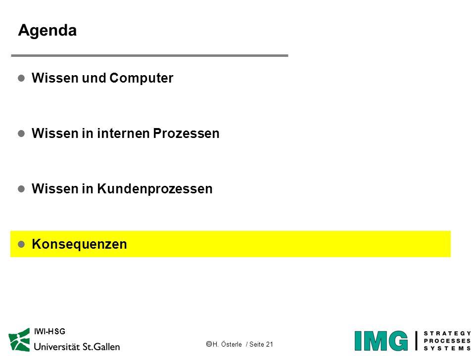 H. Österle / Seite 21 IWI-HSG Agenda l Wissen und Computer l Wissen in internen Prozessen l Wissen in Kundenprozessen l Konsequenzen