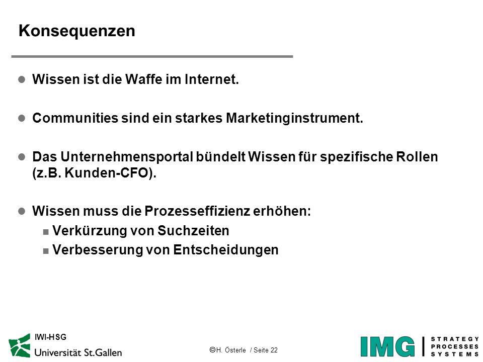 H. Österle / Seite 22 IWI-HSG Konsequenzen l Wissen ist die Waffe im Internet. l Communities sind ein starkes Marketinginstrument. l Das Unternehmensp