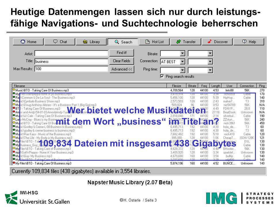 H. Österle / Seite 3 IWI-HSG Heutige Datenmengen lassen sich nur durch leistungs- fähige Navigations- und Suchtechnologie beherrschen Napster Music Li