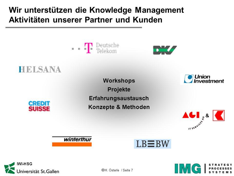 H. Österle / Seite 7 IWI-HSG Wir unterstützen die Knowledge Management Aktivitäten unserer Partner und Kunden Workshops Projekte Erfahrungsaustausch K
