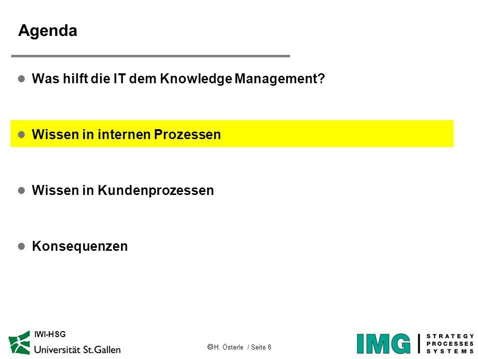 H. Österle / Seite 8 IWI-HSG Agenda l Was hilft die IT dem Knowledge Management? l Wissen in internen Prozessen l Wissen in Kundenprozessen l Konseque