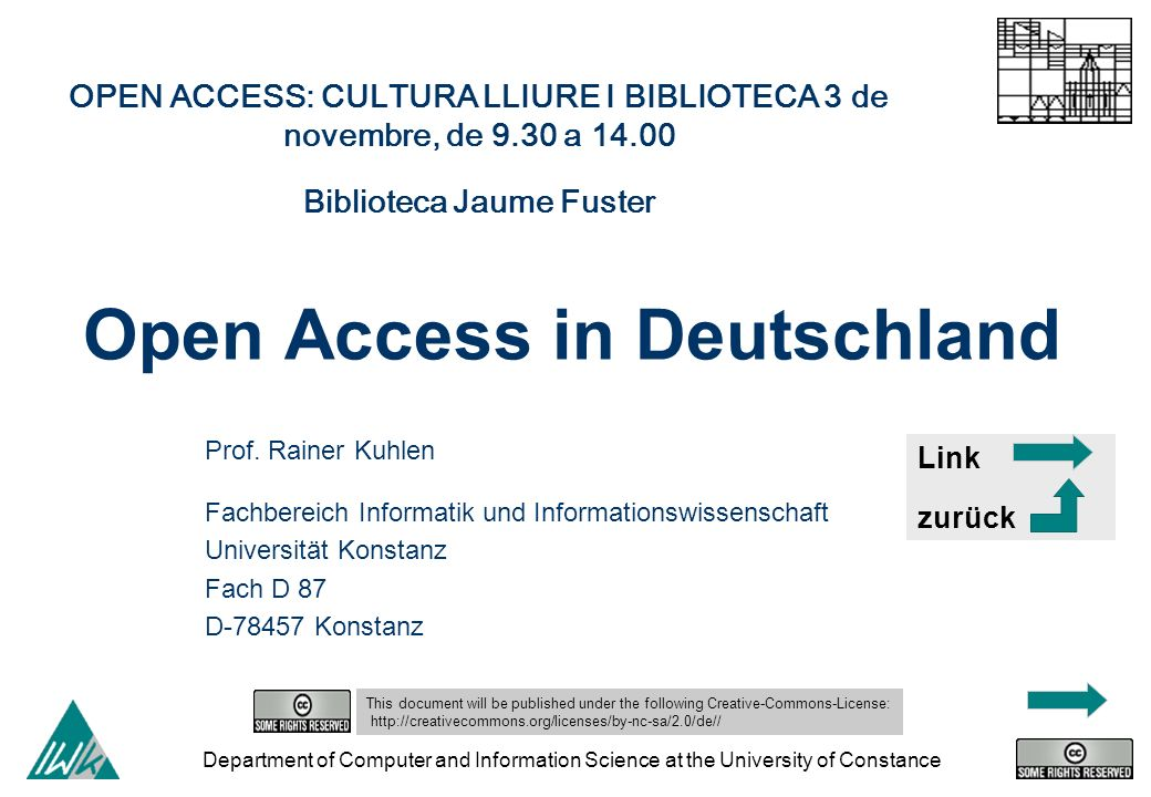 Department of Computer and Information Science at the University of Constance Open Access in Deutschland Prof.