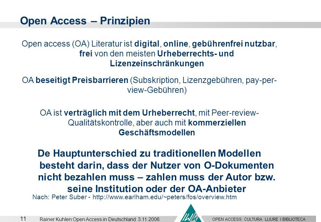 OPEN ACCESS: CULTURA LLIURE I BIBLIOTECA 11 Rainer Kuhlen:Open Access in Deutschland 3.11.2006 Open Access – Prinzipien Nach: Peter Suber - http://www