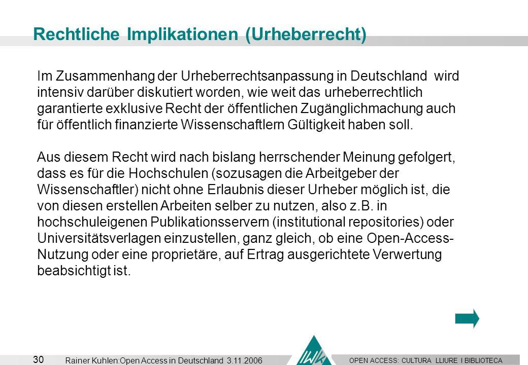 OPEN ACCESS: CULTURA LLIURE I BIBLIOTECA 30 Rainer Kuhlen:Open Access in Deutschland 3.11.2006 Rechtliche Implikationen (Urheberrecht) Im Zusammenhang