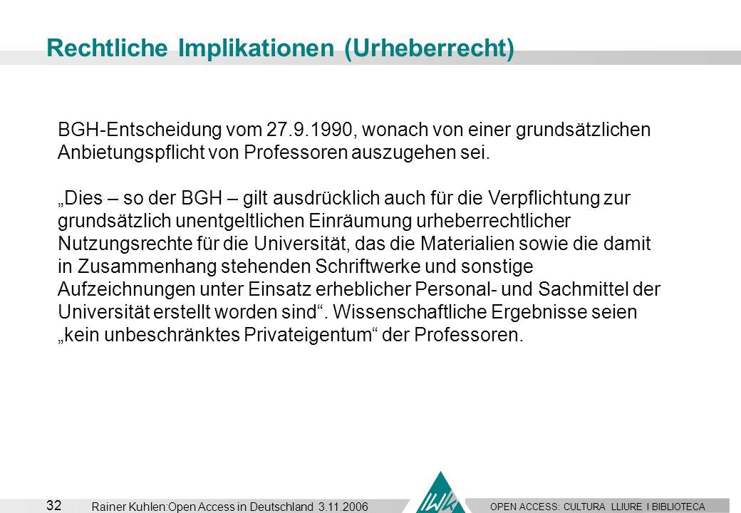 OPEN ACCESS: CULTURA LLIURE I BIBLIOTECA 32 Rainer Kuhlen:Open Access in Deutschland 3.11.2006 Rechtliche Implikationen (Urheberrecht) BGH-Entscheidun