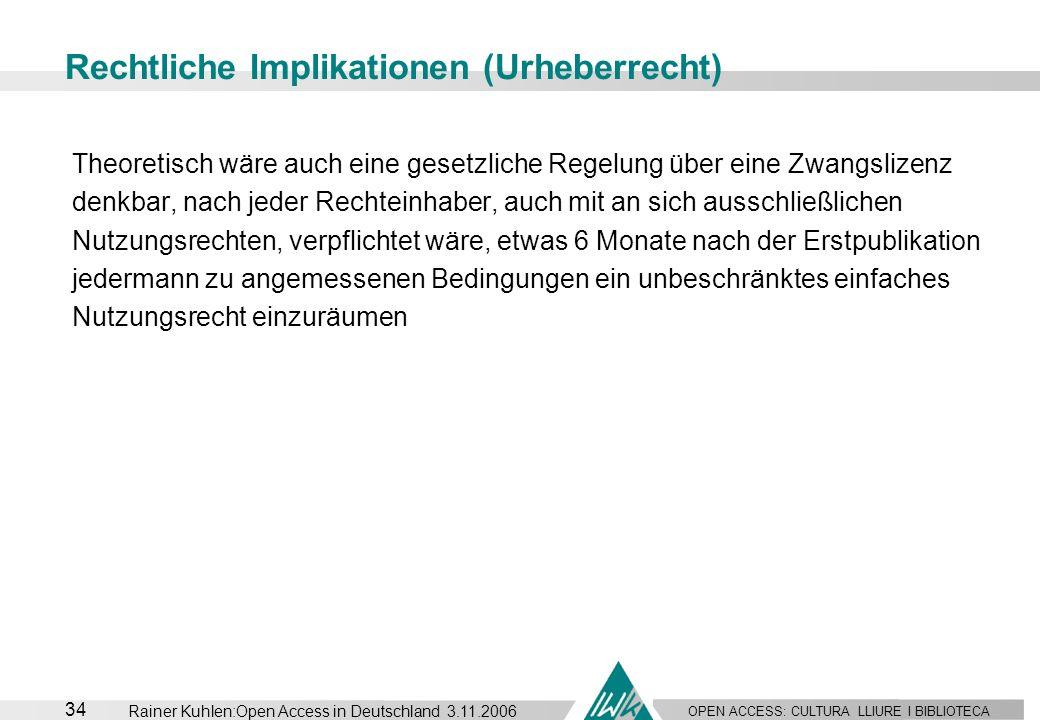 OPEN ACCESS: CULTURA LLIURE I BIBLIOTECA 34 Rainer Kuhlen:Open Access in Deutschland 3.11.2006 Rechtliche Implikationen (Urheberrecht) Theoretisch wär