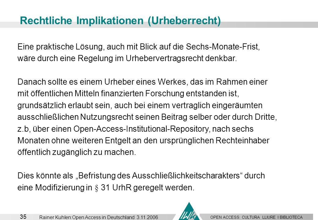 OPEN ACCESS: CULTURA LLIURE I BIBLIOTECA 35 Rainer Kuhlen:Open Access in Deutschland 3.11.2006 Rechtliche Implikationen (Urheberrecht) Eine praktische