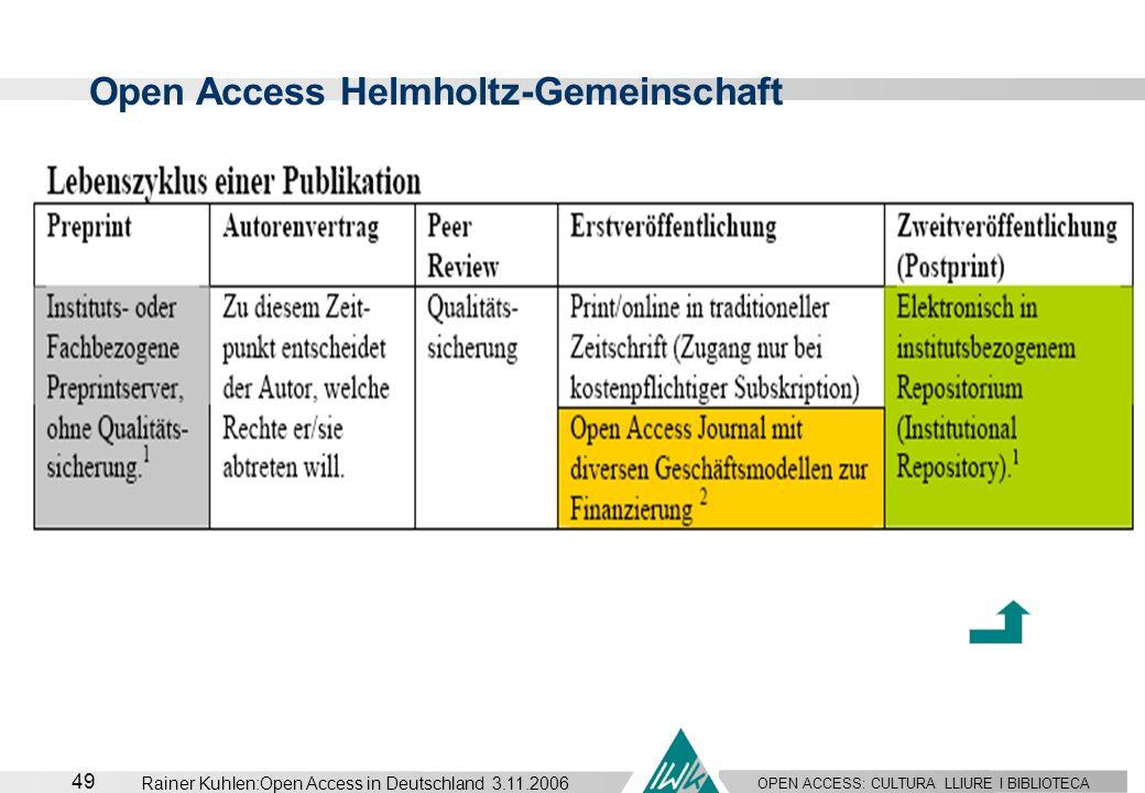 OPEN ACCESS: CULTURA LLIURE I BIBLIOTECA 49 Rainer Kuhlen:Open Access in Deutschland 3.11.2006 Open Access Helmholtz-Gemeinschaft