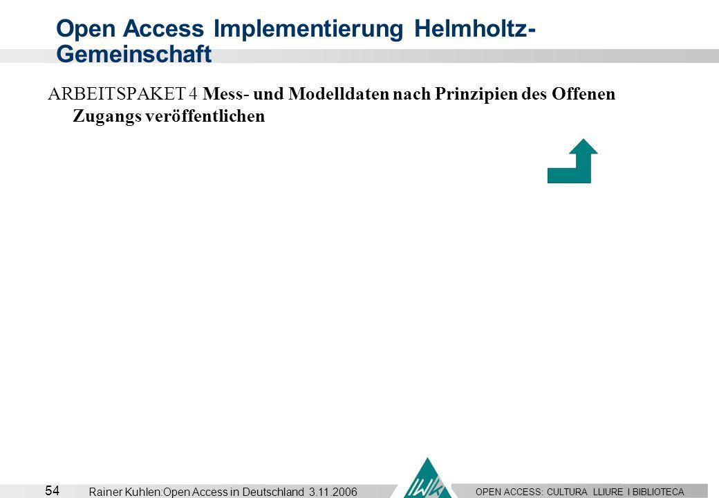 OPEN ACCESS: CULTURA LLIURE I BIBLIOTECA 54 Rainer Kuhlen:Open Access in Deutschland 3.11.2006 ARBEITSPAKET 4 Mess- und Modelldaten nach Prinzipien de