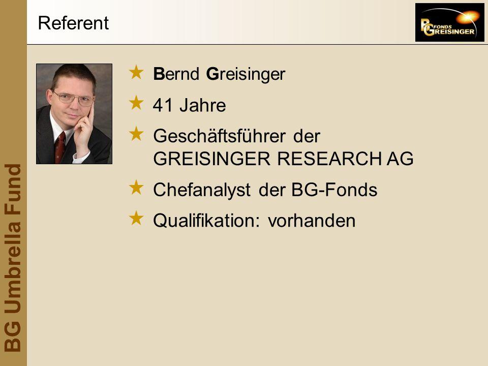 BG Umbrella Fund Bernd Greisinger 41 Jahre Geschäftsführer der GREISINGER RESEARCH AG Referent Chefanalyst der BG-Fonds Qualifikation: vorhanden