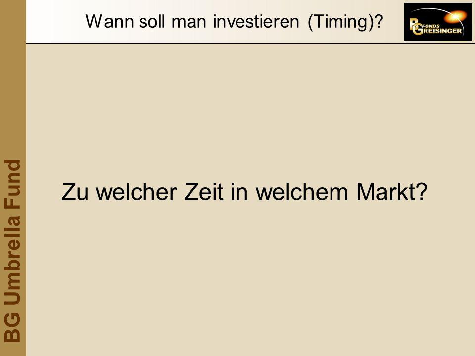 BG Umbrella Fund Wann soll man investieren (Timing)? Zu welcher Zeit in welchem Markt?