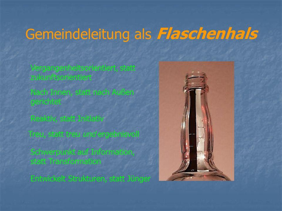 Gemeindeleitung als Flaschenhals Vergangenheitsorientiert, statt zukunftsorientiert Nach Innen, statt nach Außen gerichtet Reaktiv, statt Initiativ Tr