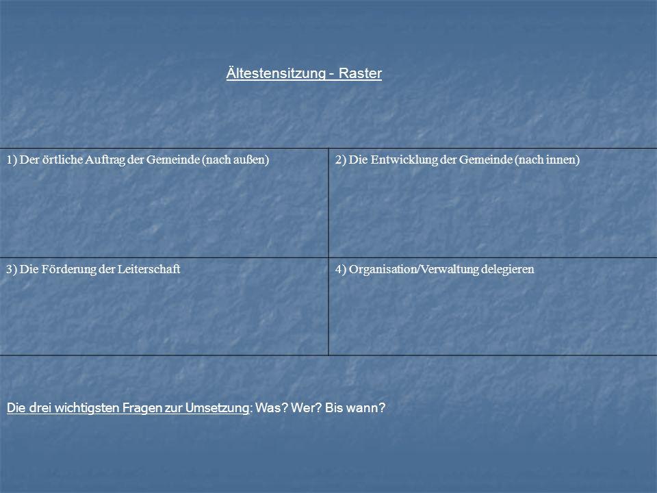 Ältestensitzung - Raster 1) Der örtliche Auftrag der Gemeinde (nach außen)2) Die Entwicklung der Gemeinde (nach innen) 3) Die Förderung der Leiterscha