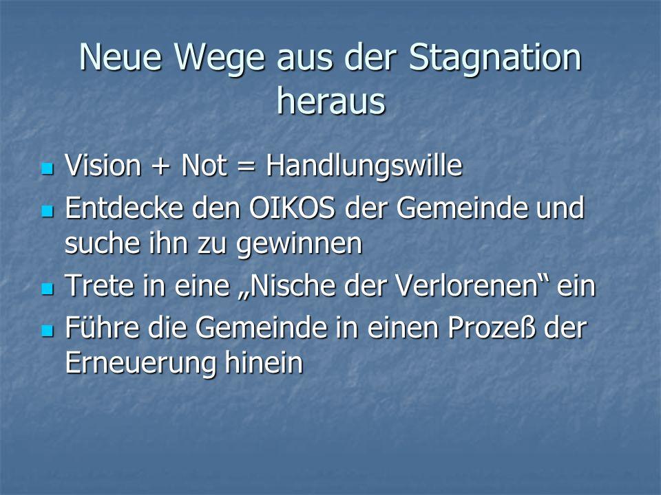 Neue Wege aus der Stagnation heraus Vision + Not = Handlungswille Vision + Not = Handlungswille Entdecke den OIKOS der Gemeinde und suche ihn zu gewin