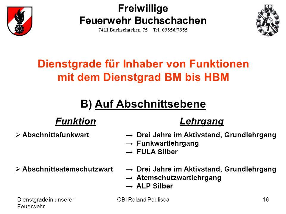 Dienstgrade in unserer Feuerwehr OBI Roland Podlisca16 Freiwillige Feuerwehr Buchschachen 7411 Buchschachen 75 Tel. 03356/7355 Dienstgrade für Inhaber