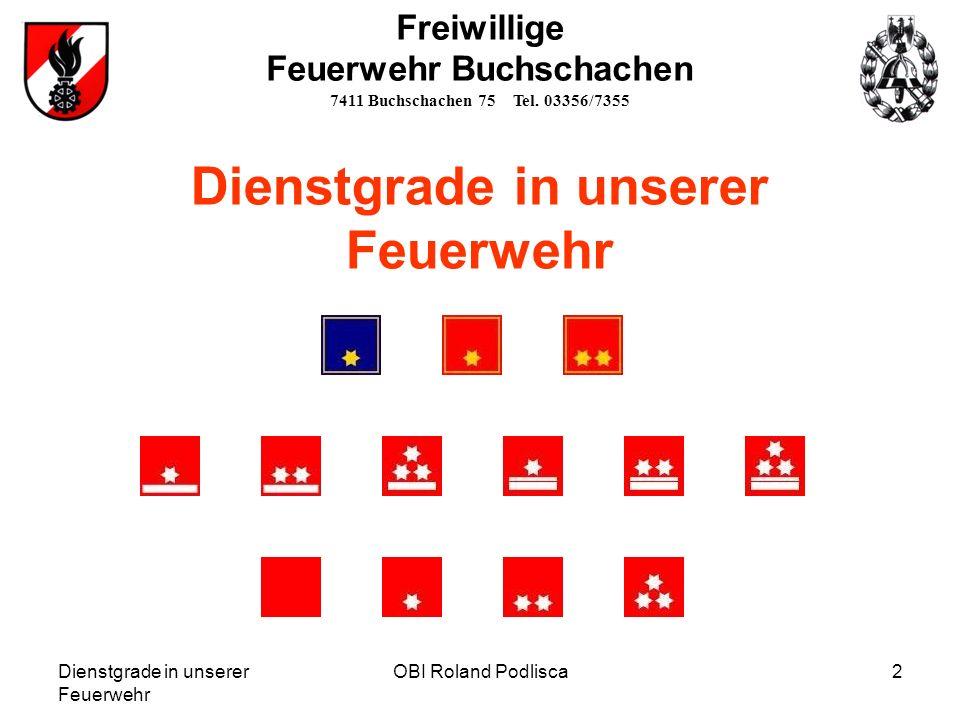 Dienstgrade in unserer Feuerwehr OBI Roland Podlisca2 Freiwillige Feuerwehr Buchschachen 7411 Buchschachen 75 Tel. 03356/7355 Dienstgrade in unserer F