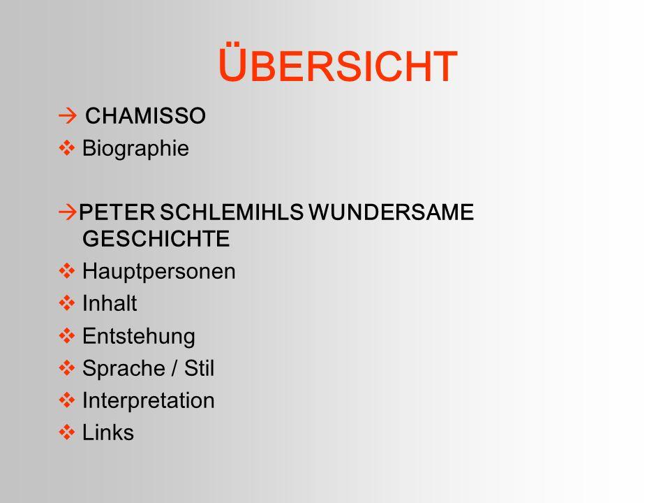 B iographie - Chamisso * 30.1.1781 auf Schloss Bancourt / Champagne + 21.8.1838 in Berlin stammt aus lothringischem Adel, flüchtete während der Französischen Revolution nach Deutschland.