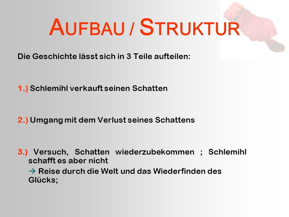 A UFBAU / S TRUKTUR Die Geschichte lässt sich in 3 Teile aufteilen: 1.) Schlemihl verkauft seinen Schatten 2.) Umgang mit dem Verlust seines Schattens
