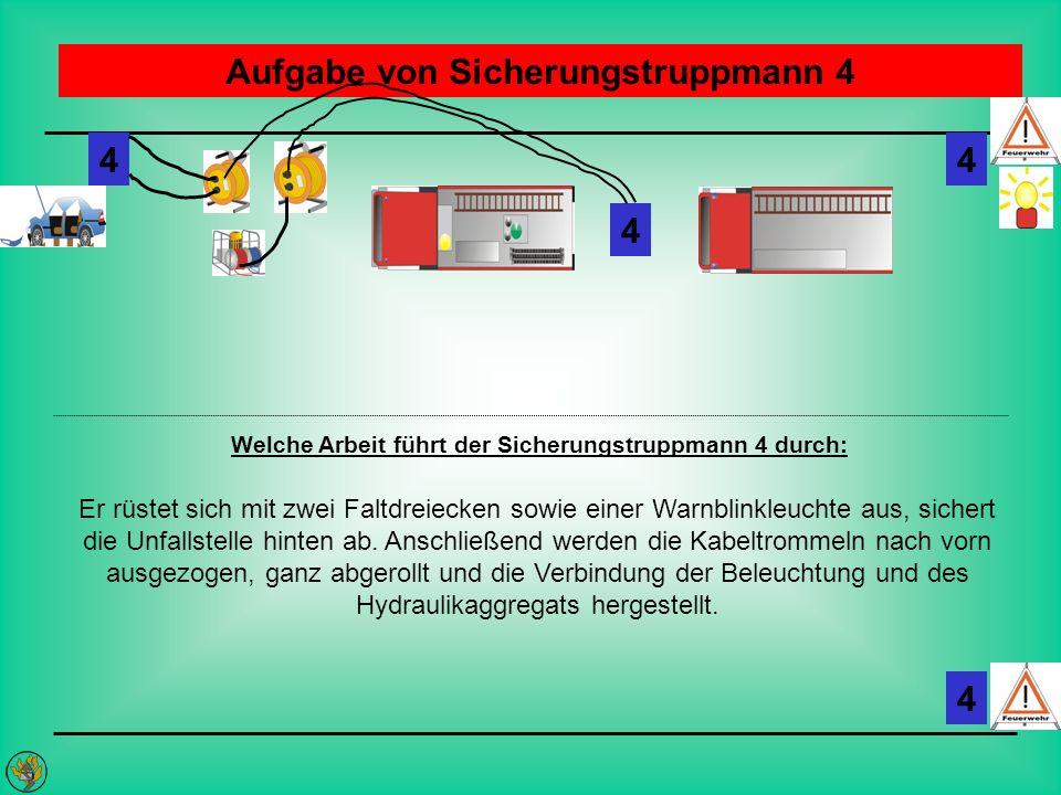 Aufgabe von Sicherungstruppmann 4 Welche Arbeit führt der Sicherungstruppmann 4 durch: Er rüstet sich mit zwei Faltdreiecken sowie einer Warnblinkleuc