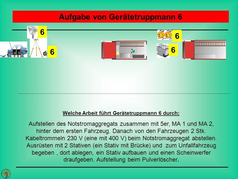 Aufgabe von Gerätetruppmann 6 Welche Arbeit führt Gerätetruppmann 6 durch: Aufstellen des Notstromaggregats zusammen mit 5er, MA 1 und MA 2, hinter de