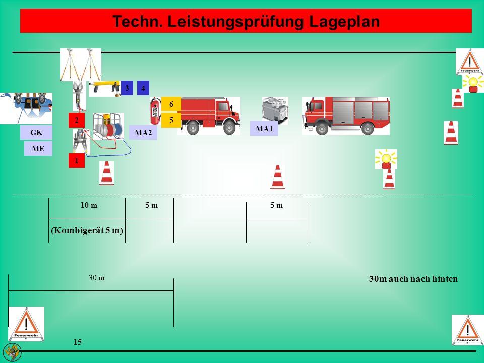 Techn. Leistungsprüfung Lageplan GK ME MA2 6 5 MA1 34 10 m5 m 30 m 1 2 15 30m auch nach hinten (Kombigerät 5 m)