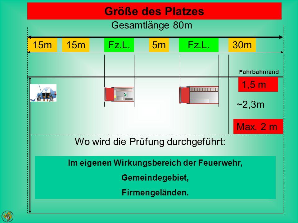 Im eigenen Wirkungsbereich der Feuerwehr, Gemeindegebiet, Firmengeländen. Wo wird die Prüfung durchgeführt: Größe des Platzes 15m Fz.L.5mFz.L.30m Gesa