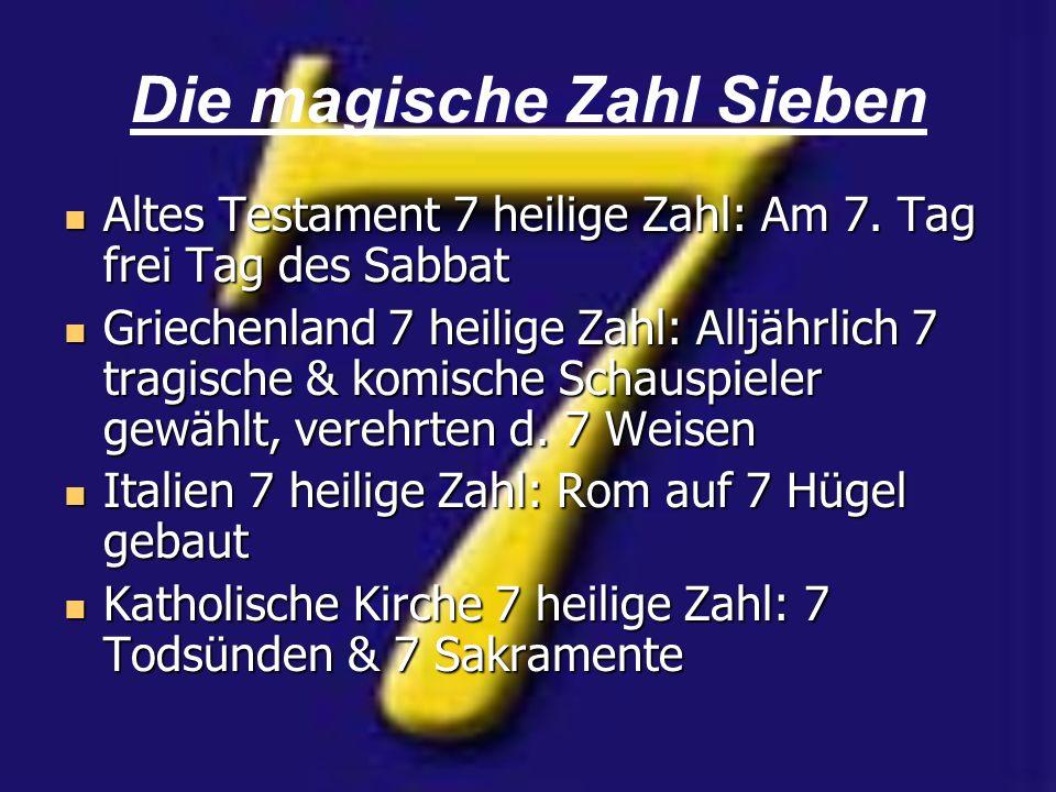 Die magische Zahl Sieben Altes Testament 7 heilige Zahl: Am 7. Tag frei Tag des Sabbat Altes Testament 7 heilige Zahl: Am 7. Tag frei Tag des Sabbat G