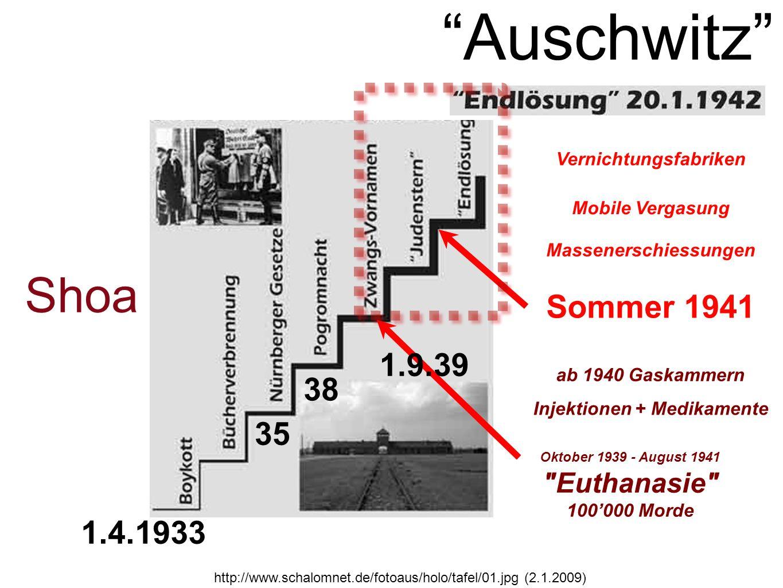 http://www.schalomnet.de/fotoaus/holo/tafel/01.jpg (2.1.2009) Sommer 1941 Massenerschiessungen Mobile Vergasung Vernichtungsfabriken Shoa Oktober 1939 - August 1941 Euthanasie 100000 Morde Injektionen + Medikamente ab 1940 Gaskammern 1.9.39 Auschwitz 1.4.1933 35 38
