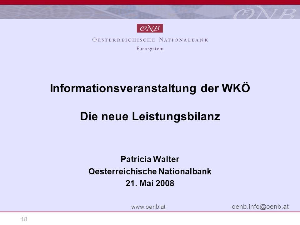 18 www.oenb.at oenb.info@oenb.at Informationsveranstaltung der WKÖ Die neue Leistungsbilanz Patricia Walter Oesterreichische Nationalbank 21. Mai 2008