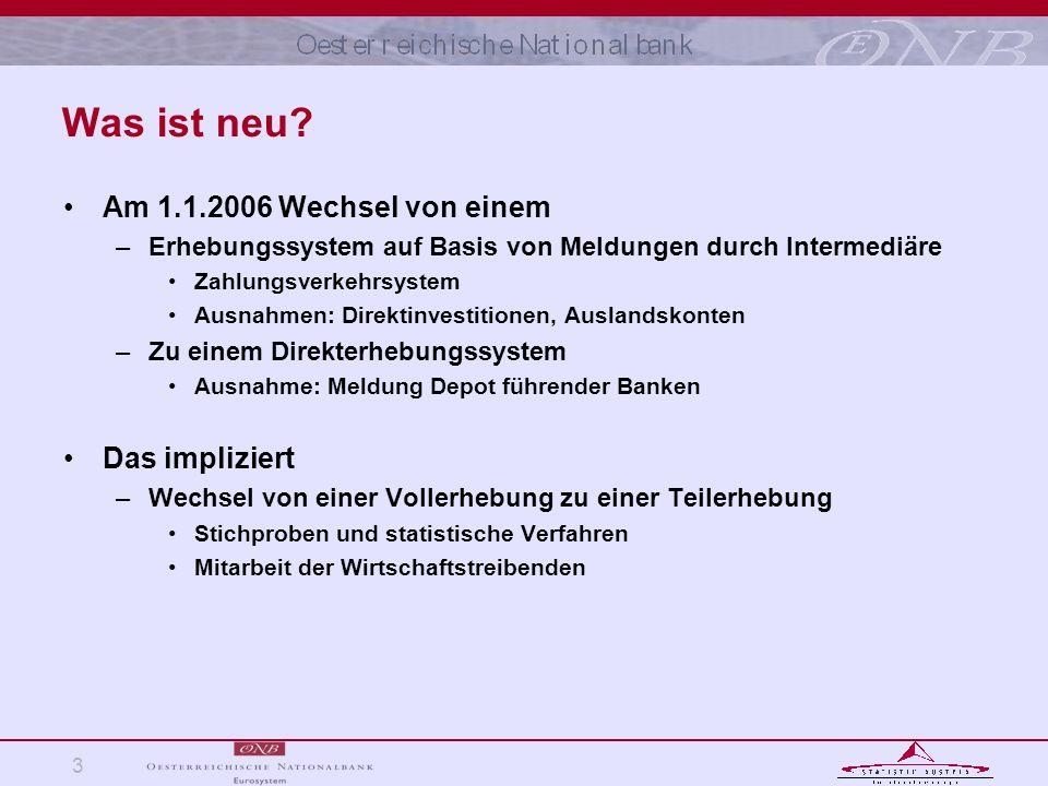 3 Was ist neu? Am 1.1.2006 Wechsel von einem –Erhebungssystem auf Basis von Meldungen durch Intermediäre Zahlungsverkehrsystem Ausnahmen: Direktinvest