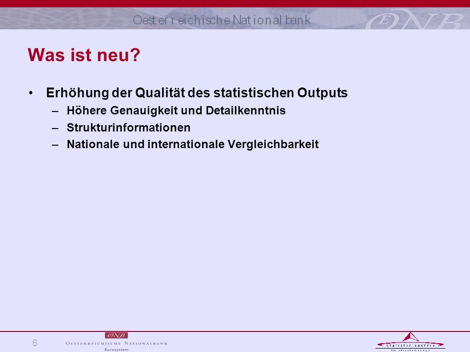 6 Was ist neu? Erhöhung der Qualität des statistischen Outputs –Höhere Genauigkeit und Detailkenntnis –Strukturinformationen –Nationale und internatio