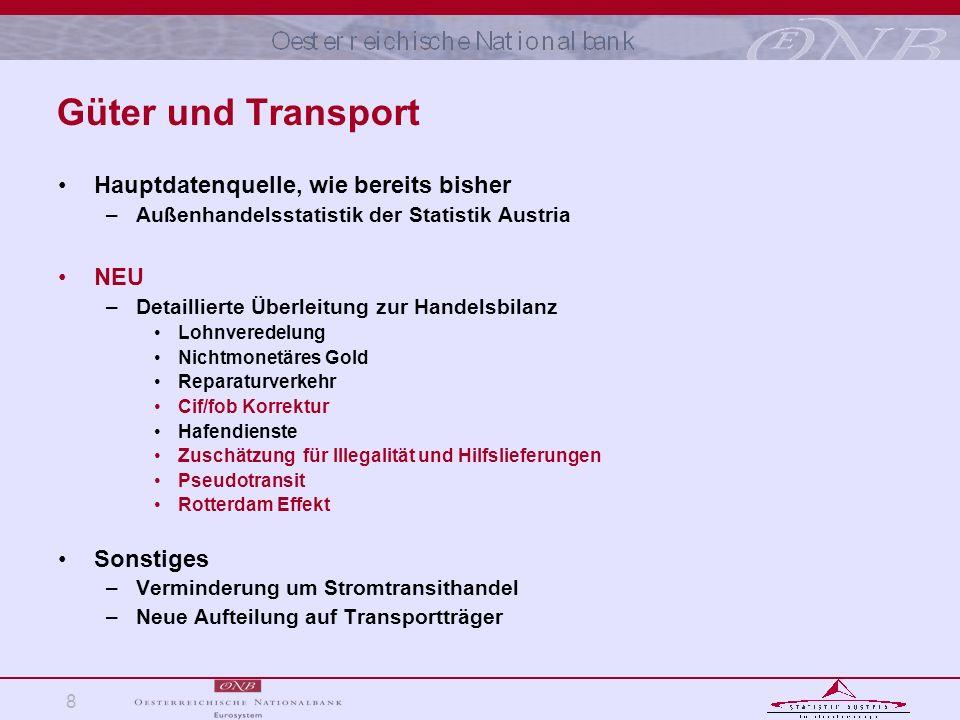 8 Güter und Transport Hauptdatenquelle, wie bereits bisher –Außenhandelsstatistik der Statistik Austria NEU –Detaillierte Überleitung zur Handelsbilan