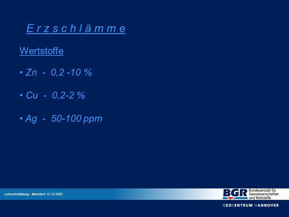Lehrerfortbildung - Markdorf, 12.12.2002 E r z s c h l ä m m e Wertstoffe Zn - 0,2 -10 % Cu - 0,2-2 % Ag - 50-100 ppm