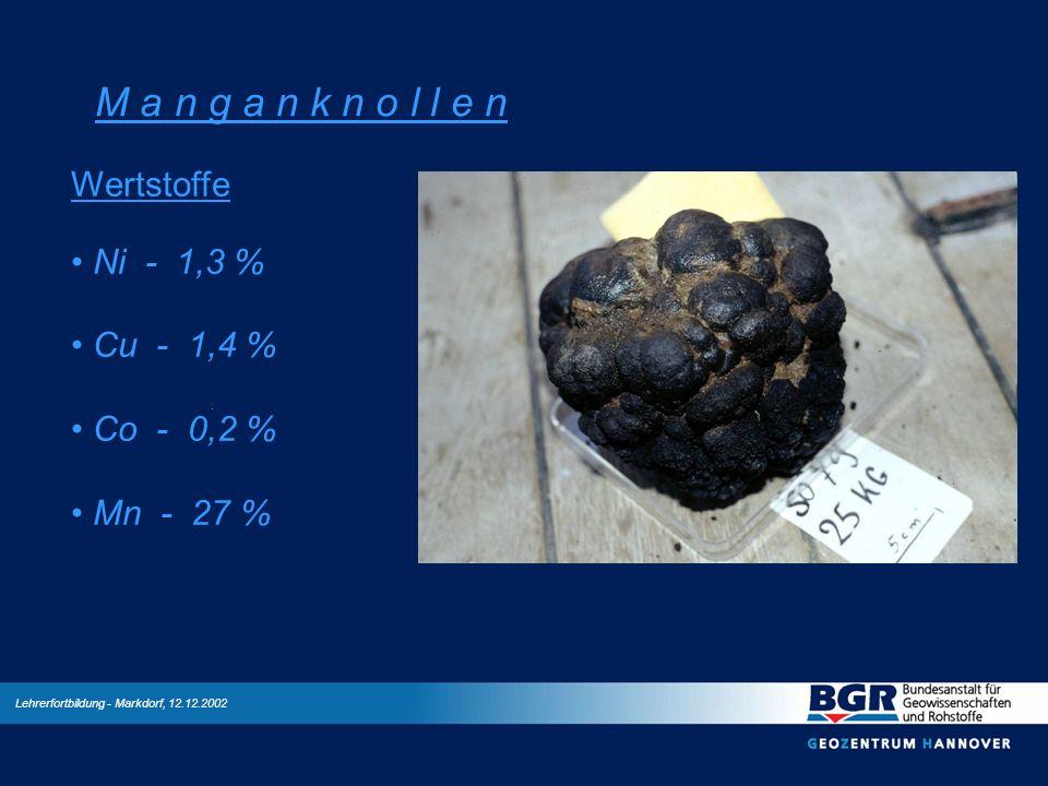 Lehrerfortbildung - Markdorf, 12.12.2002 M a n g a n k n o l l e n Wertstoffe Ni - 1,3 % Cu - 1,4 % Co - 0,2 % Mn - 27 %