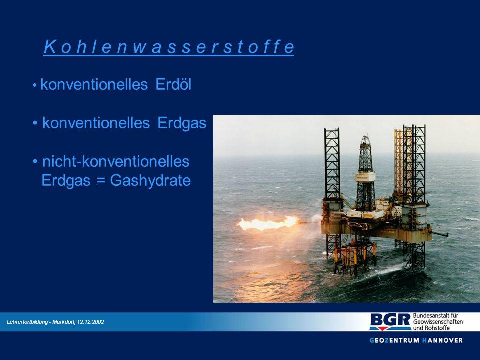 Lehrerfortbildung - Markdorf, 12.12.2002 K o h l e n w a s s e r s t o f f e konventionelles Erdöl konventionelles Erdgas nicht-konventionelles Erdgas