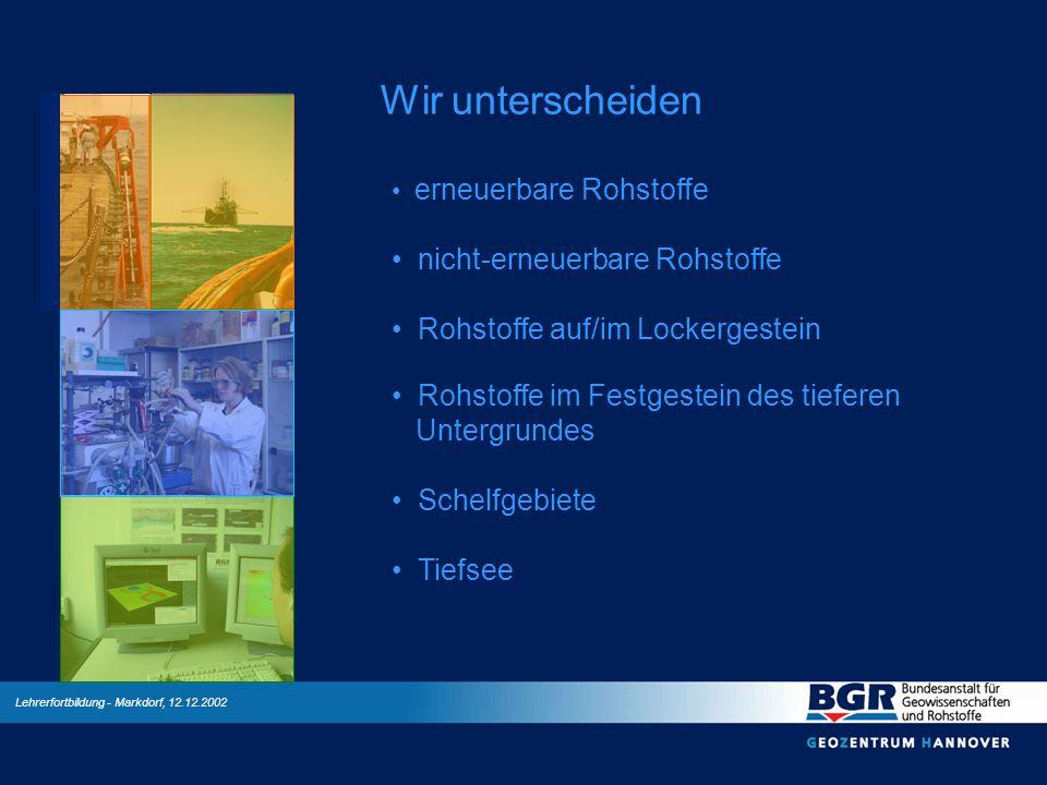 Lehrerfortbildung - Markdorf, 12.12.2002 Wir unterscheiden erneuerbare Rohstoffe nicht-erneuerbare Rohstoffe Rohstoffe auf/im Lockergestein Rohstoffe