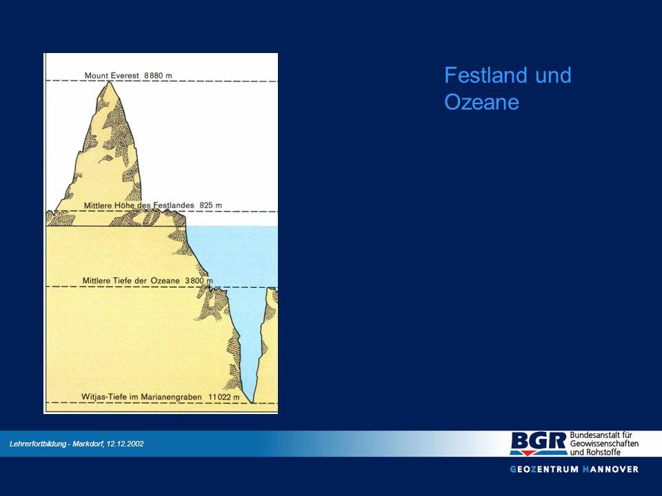 Lehrerfortbildung - Markdorf, 12.12.2002 Festland und Ozeane